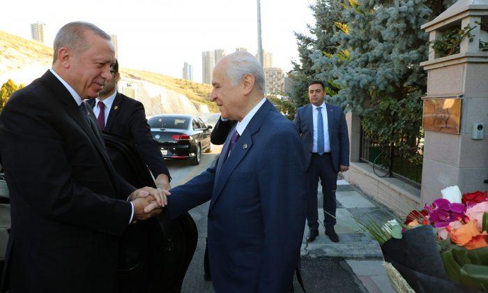 MHP Lideri Devlet Bahçeli, Külliye'de Cumhurbaşkanı Erdoğan ile görüştü