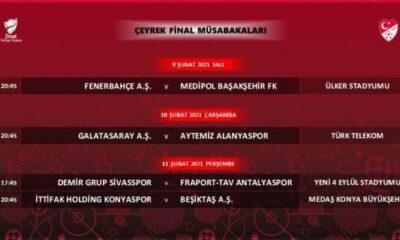 Ziraat Türkiye Kupası çeyrek final programı açıklandı