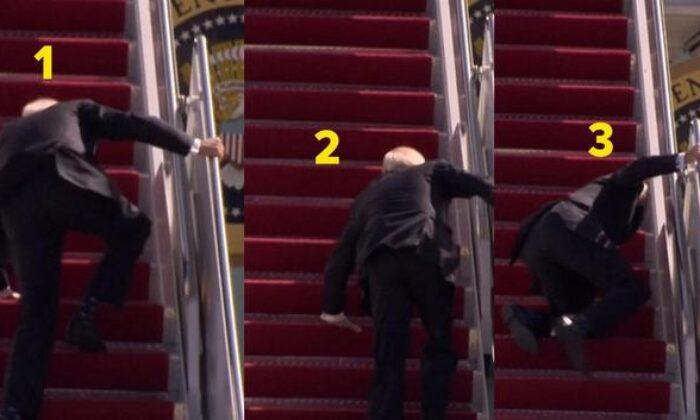 ABD Başkanı Biden uçağa binerken 3 kez düştü