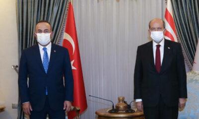 KKTC Cumhurbaşkanı Tatar, Dışişleri Bakanı Çavuşoğlu'nu kabul etti