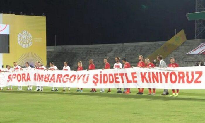 Kıbrıs 'Şöhretler Maçı'ndan dünyaya mesaj: Sporda ambargoya hayır