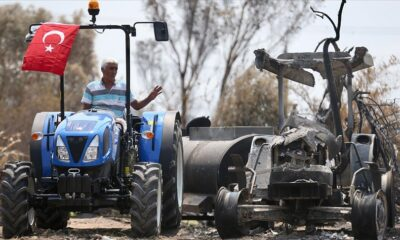 Manavgat'ta yangına müdahale eden çiftçinin yanan traktörünün yerine yenisi teslim edildi